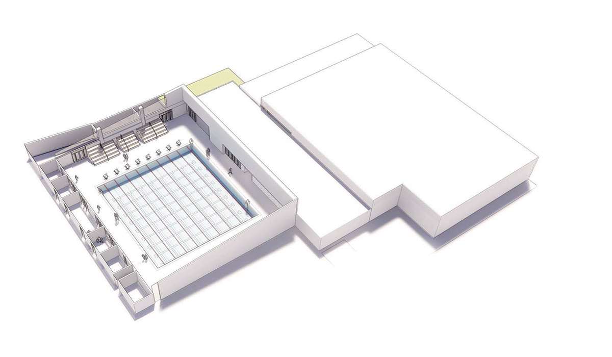 3D rendering of 25 meter Pool Facility with one pool and no bleachers
