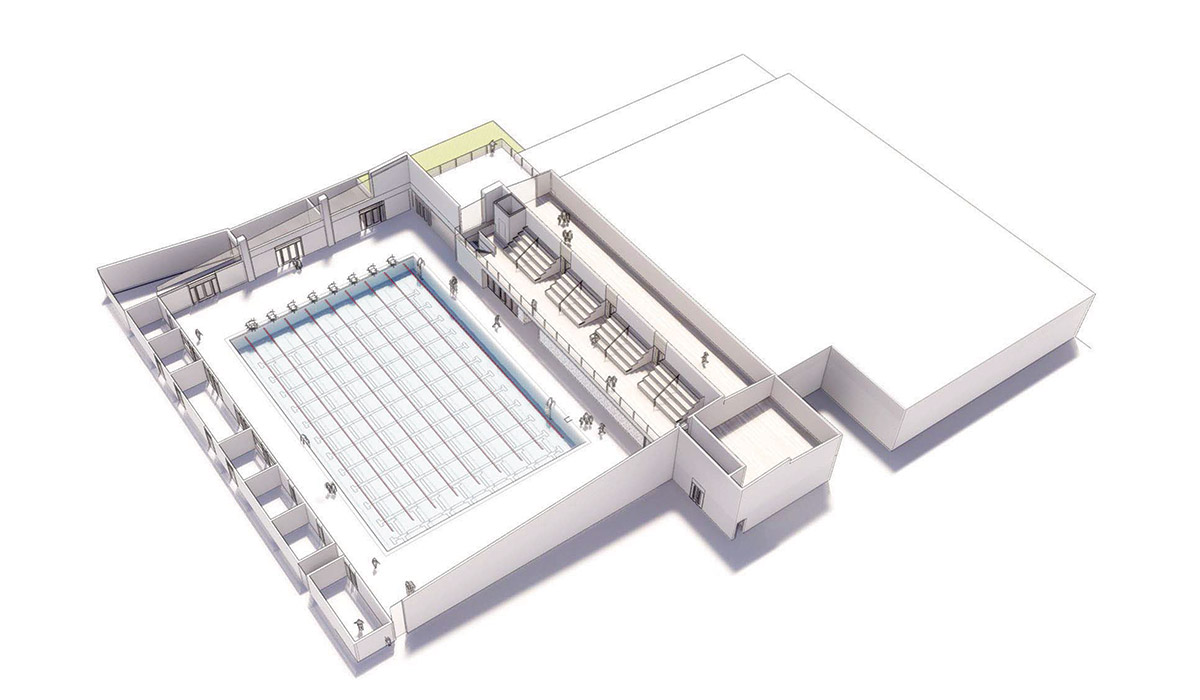 3D rendering of 33 meter Pool Facility including one pool and bleachers