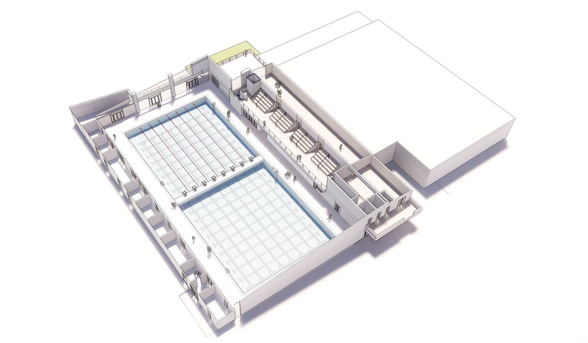 3D rendering of 52 meter Pool Facility including two pools and bleachers